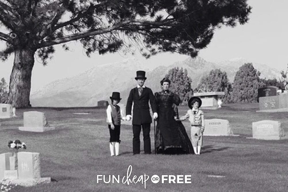 Victorian family standing in a graveyard, from Fun Cheap or Free