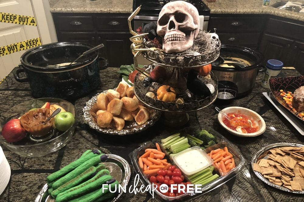 Various party foods on a counter, from Fun Cheap or Free