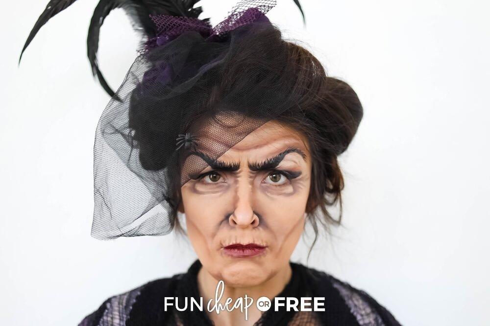 Woman with Halloween makeup to look like a witch, from Fun Cheap or Free