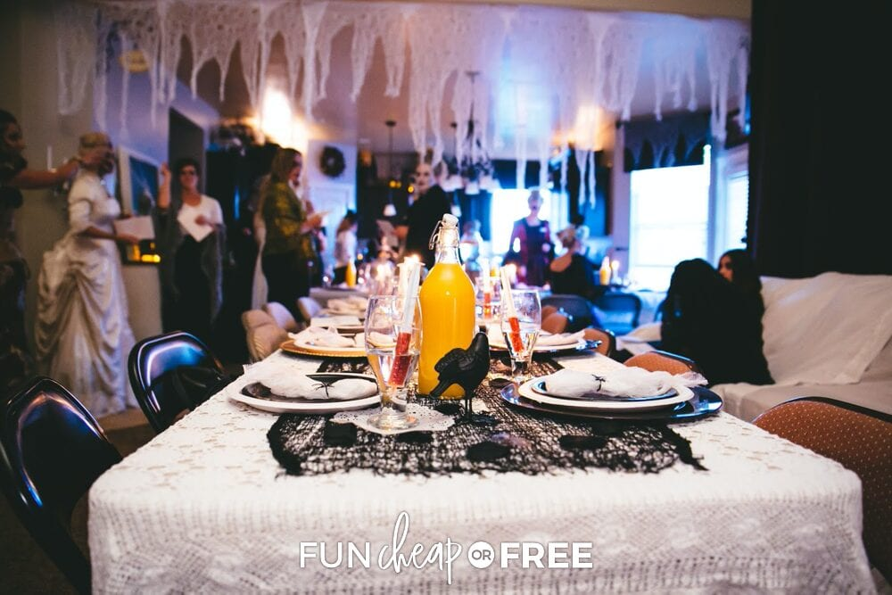 Decorations for a Halloween party on a table, from Fun Cheap or Free