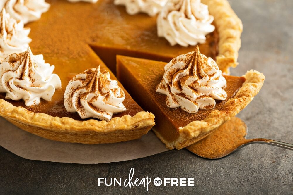Slice of pumpkin pie, from Fun Cheap or Free