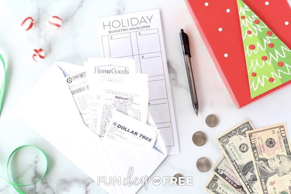 Holiday spending envelopes from Fun Cheap or Free