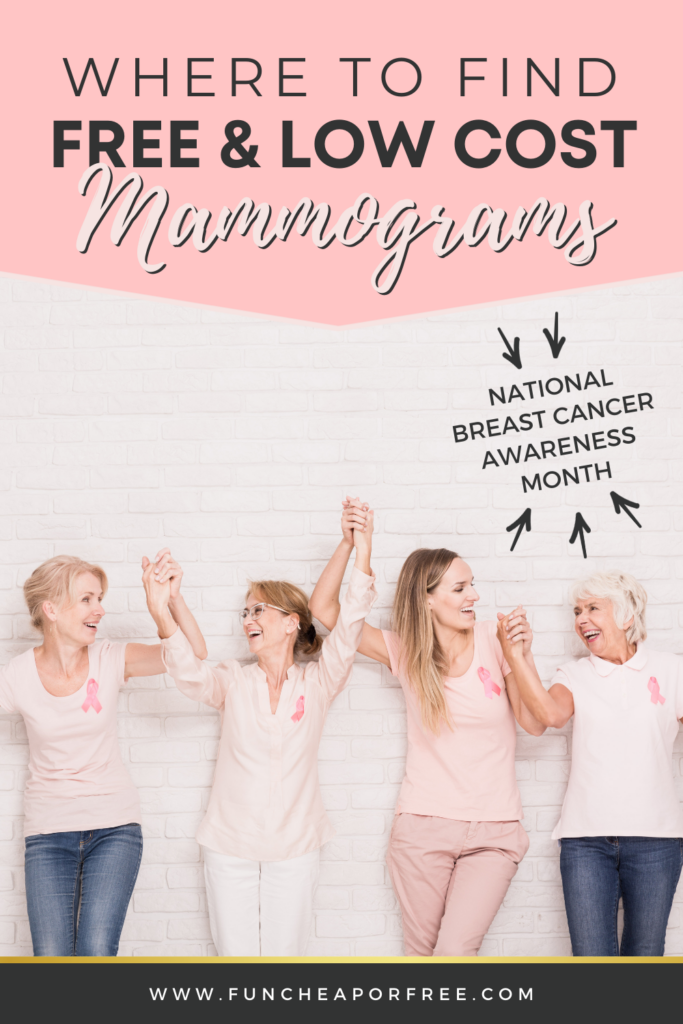 "Women holding hands triumphantly with text: ""Where to find free & low cost mammograms"" from Fun Cheap or Free"