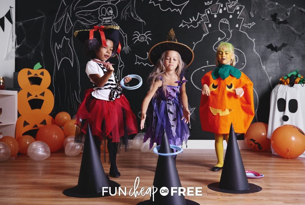 Girls in costumes playing last-minute Halloween party game, from Fun Cheap or Free