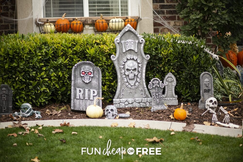 Graveyard Halloween yard decorations, from Fun Cheap or Free