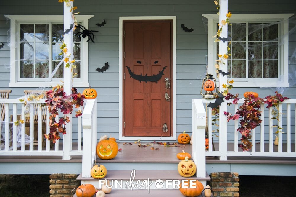 Porch and door decorated for Halloween, from Fun Cheap or Free