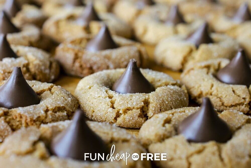 Peanut butter cookies with chocolate candy in the middle, from Fun Cheap or Free