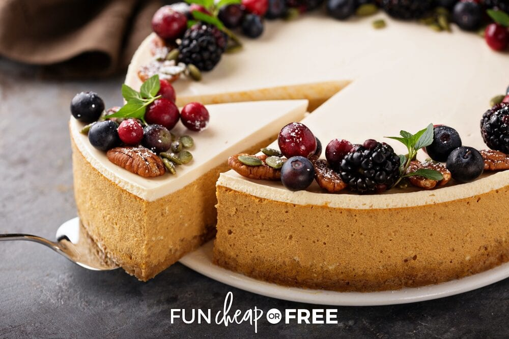 Make ahead Thanksgiving cheesecake on a dish, from Fun Cheap or Free