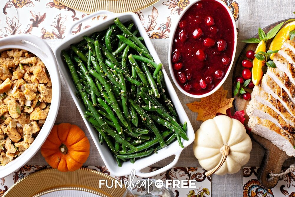 Make ahead Thanksgiving foods on a table, from Fun Cheap or Free
