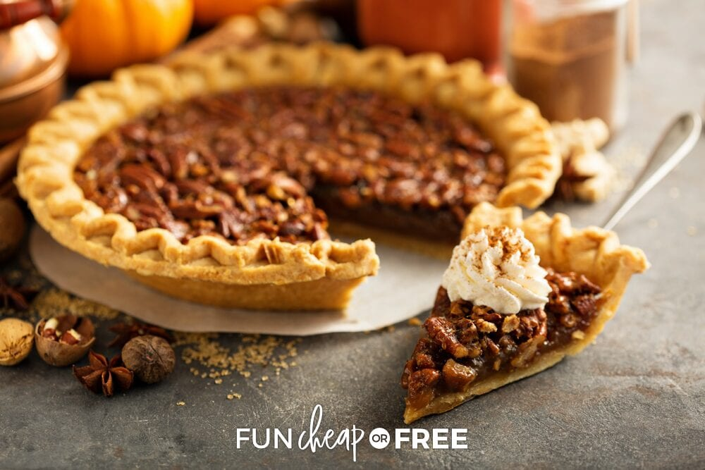 Pecan pie on a counter, from Fun Cheap or Free