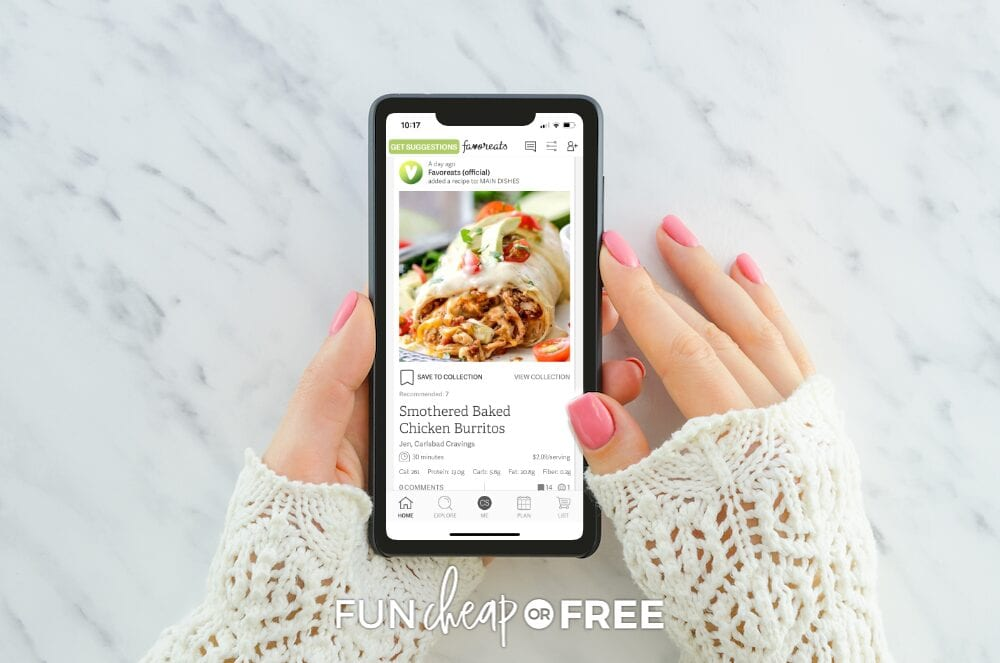 Woman's hands holding smartphone with Smothered Baked Chicken Burritos recipe, from Fun Cheap or Free