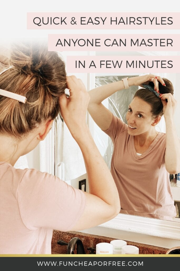 Woman fixing her hair in the mirror, from Fun Cheap or Free
