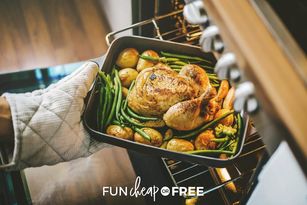 Oven mitt pulling turkey for Thanksgiving dinner out of oven, from Fun Cheap or Free