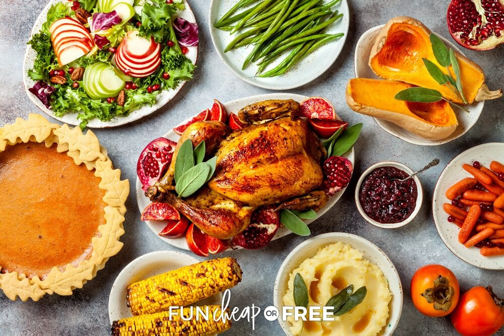 Thanksgiving dinner foods on a counter, from Fun Cheap or Free