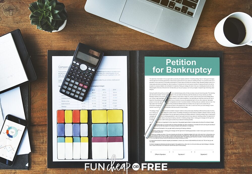 "Bankruptcy paperwork on a desk to determine ""what is bankruptcy?"" from Fun Cheap or Free"