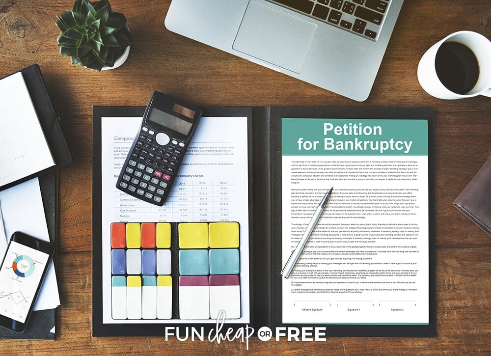 """Bankruptcy paperwork on a desk to determine """"what is bankruptcy?"""" from Fun Cheap or Free"""