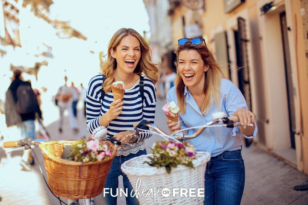 Friends riding bikes with ice cream, from Fun Cheap or Free