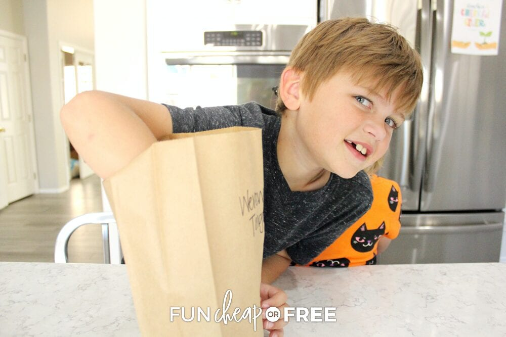 Boy reaching into brown paper bag, from Fun Cheap or Free
