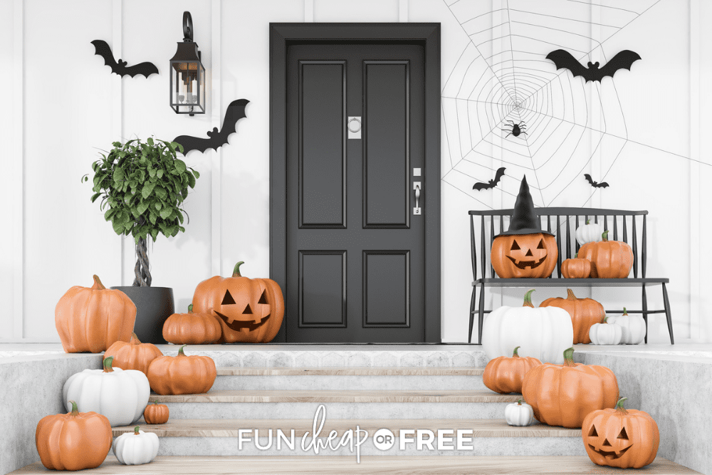 Last-minute Halloween party porch decorations of pumpkins, from Fun Cheap or Free