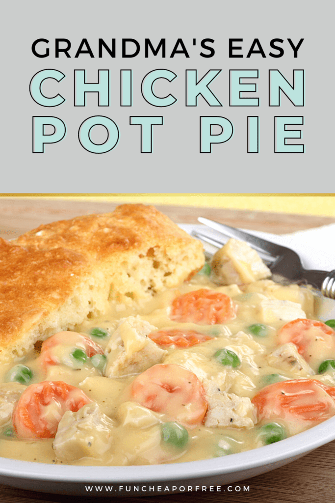 chicken pot pie on a plate, from Fun Cheap or Free