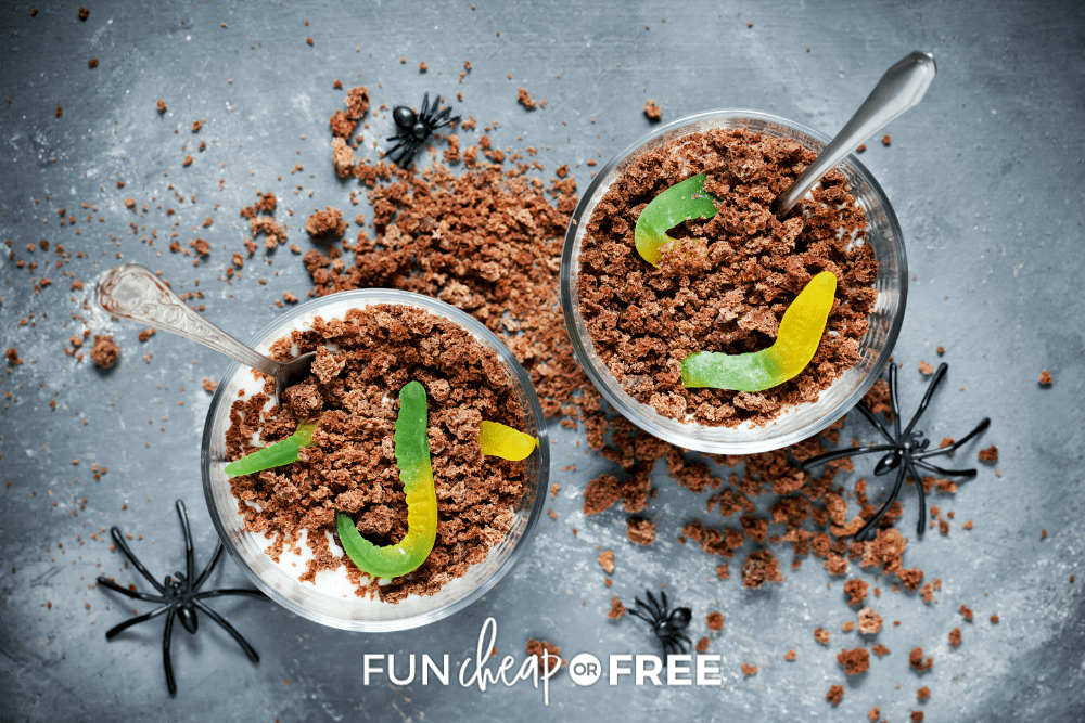 two cups of dirt cake with gummy worms, from Fun Cheap or Free