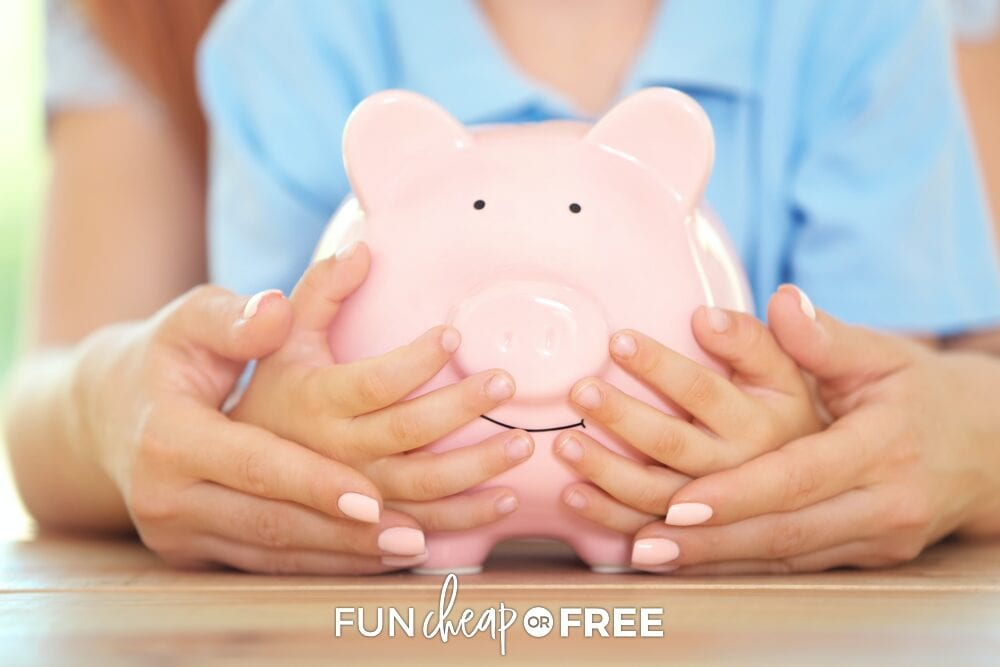 Mother and son holding piggy bank, from Fun Cheap or Free