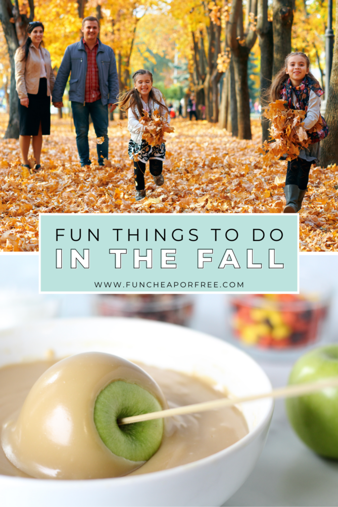 """image with text that reads """"fun things to do in the fall"""", from Fun Cheap or Free"""