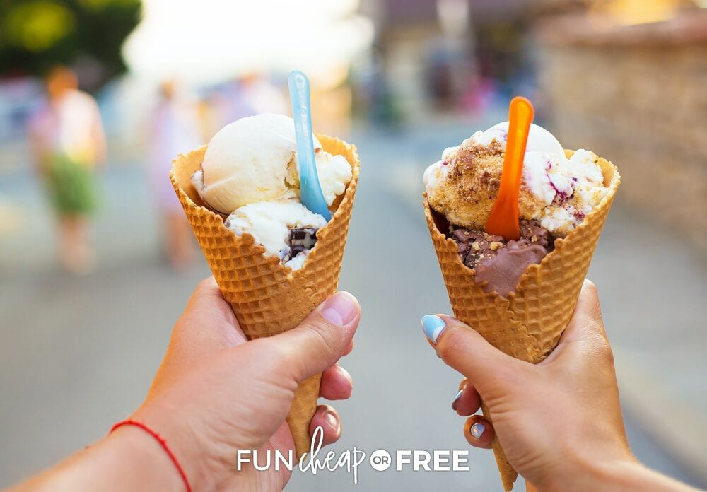 Hands holding ice cream cones, from Fun Cheap or Free