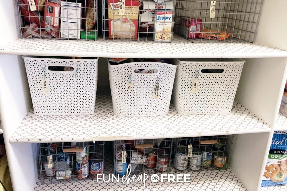 Bins and wire baskets on shelves, grouped with similar items, from Fun Cheap or Free