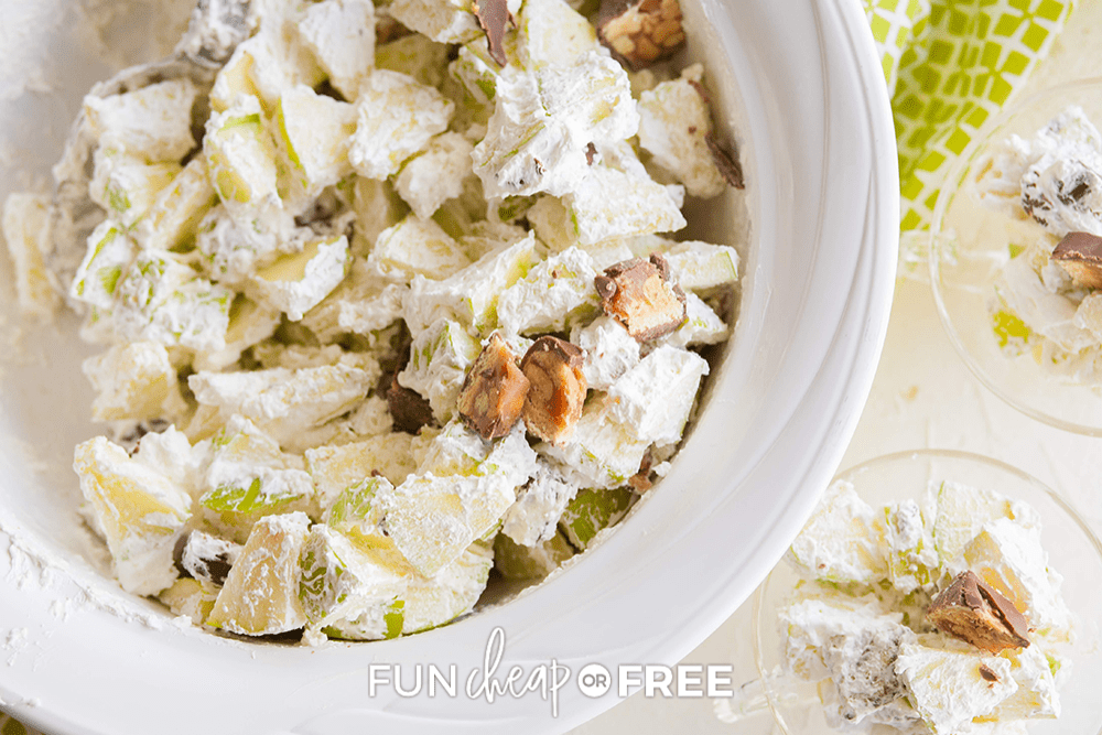 a bowl of snickers apple salad, from Fun Cheap or Free
