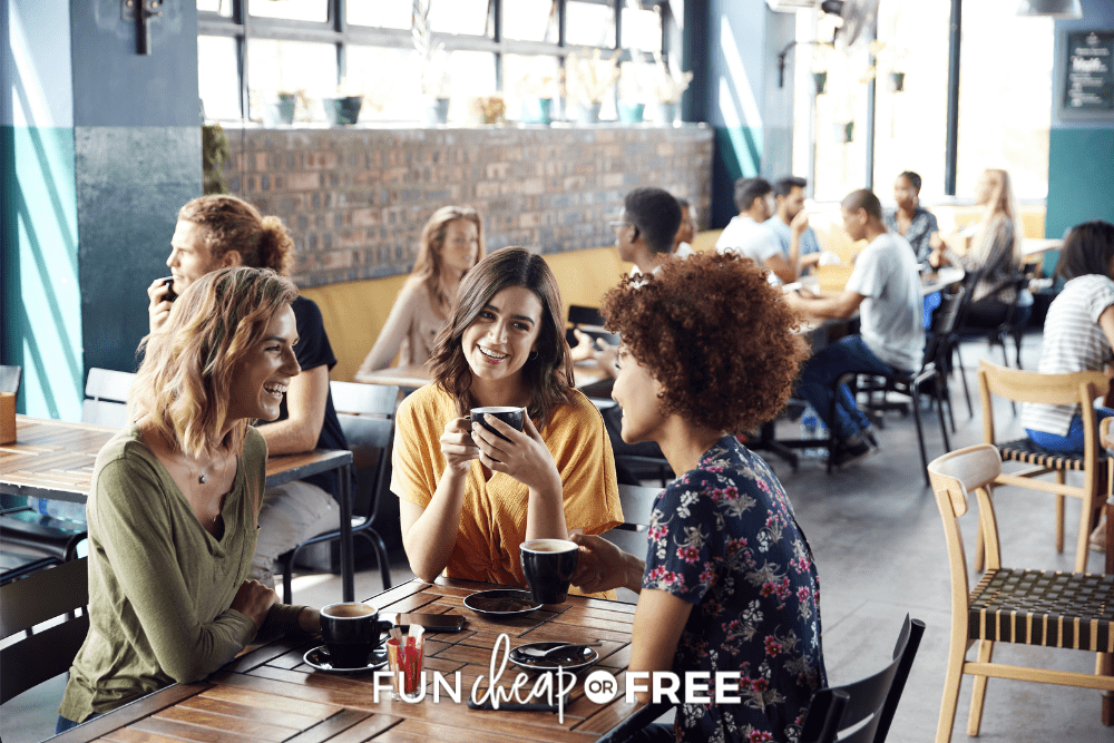 Friends having coffee together in a coffee house, from Fun Cheap or Free