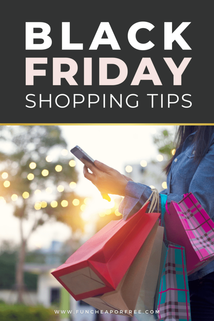 "Image with text that reads ""Black Friday shopping tips,"" from Fun Cheap or Free"