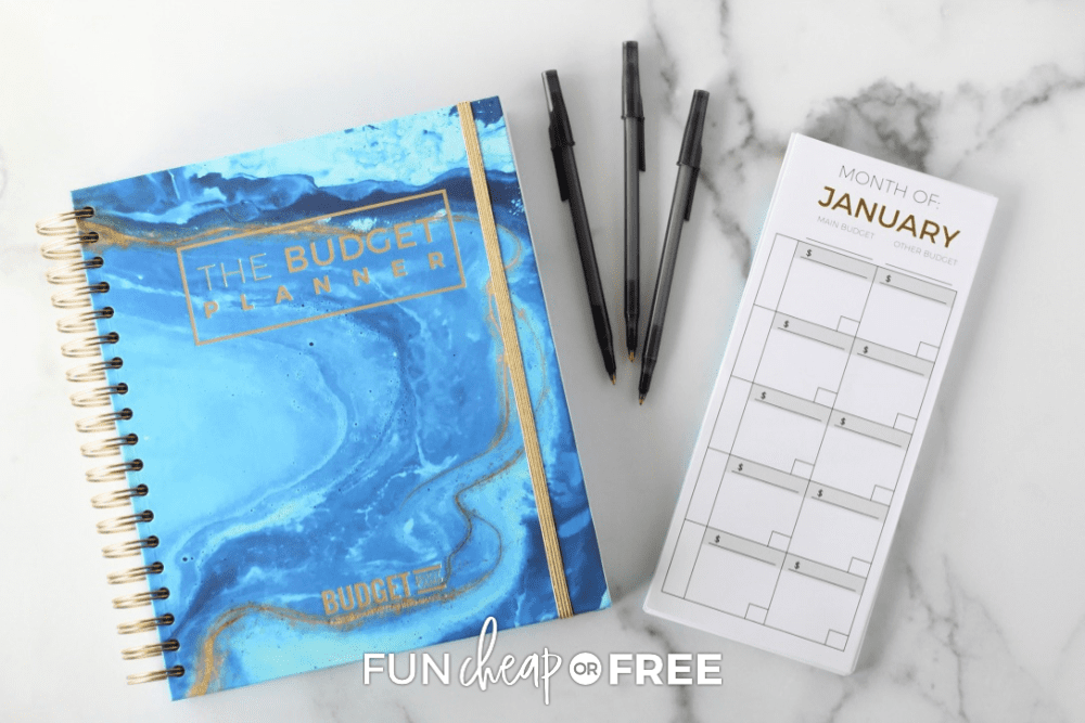 Page Company budget planner, envelopes, and pens, from Fun Cheap or Free