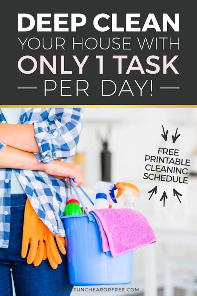 Woman holding bucket of cleaning supplies, from Fun Cheap or Free!