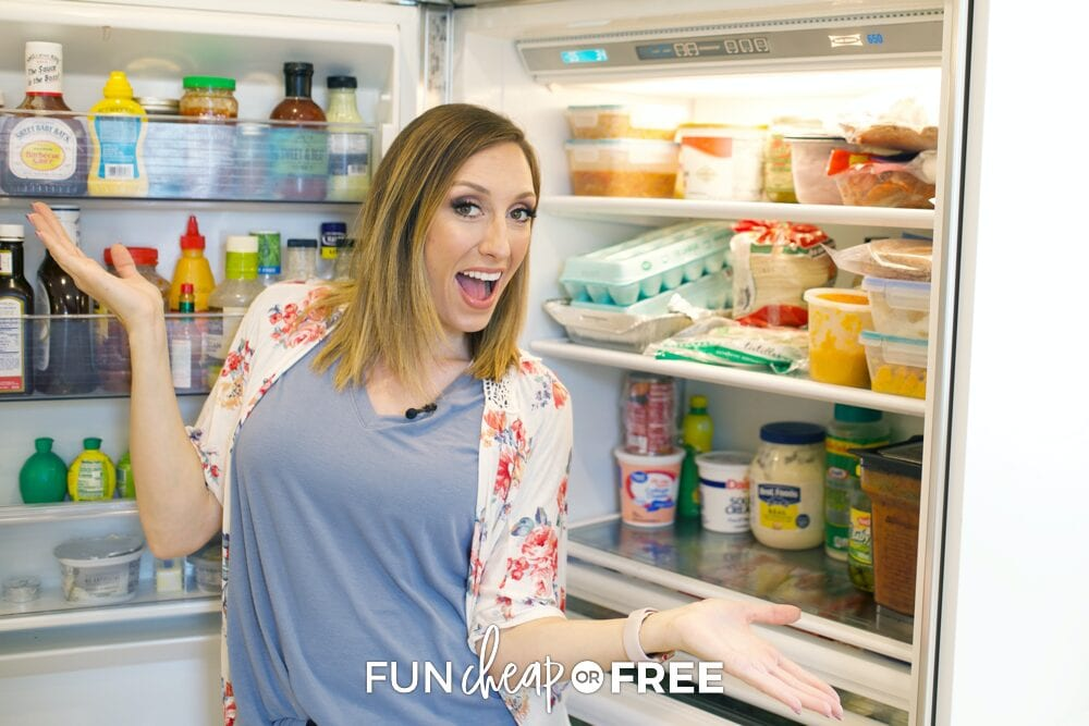 Jordan standing in front of open refrigerator, from Fun Cheap or Free