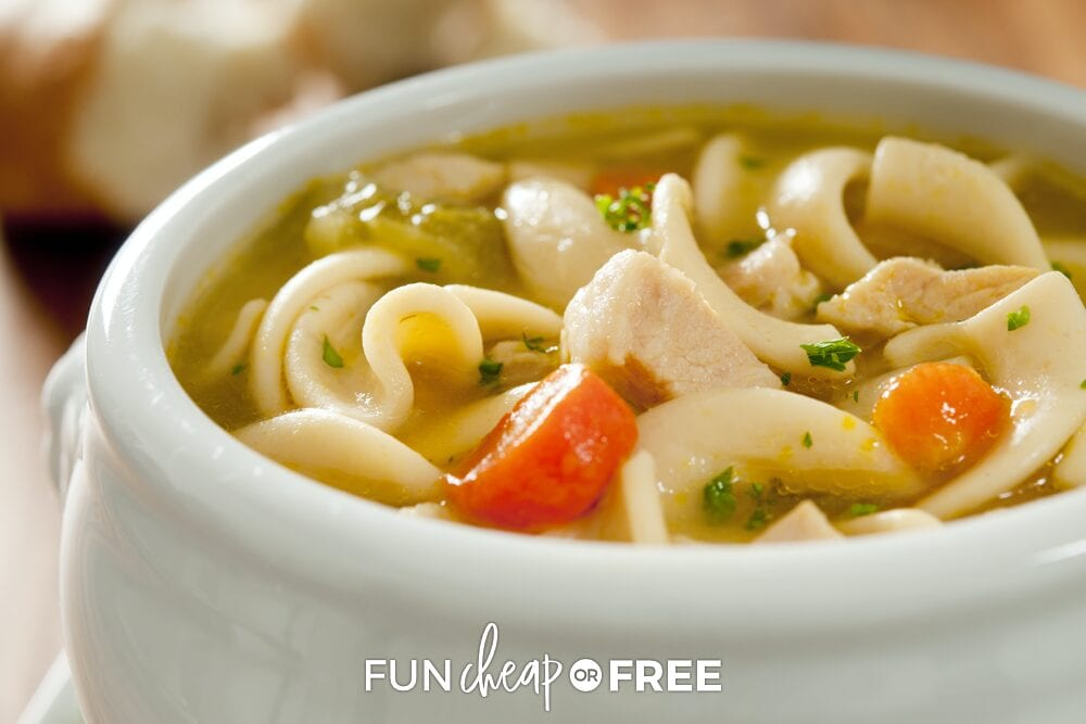 Chicken noodle soup in a bowl, from Fun Cheap or Free