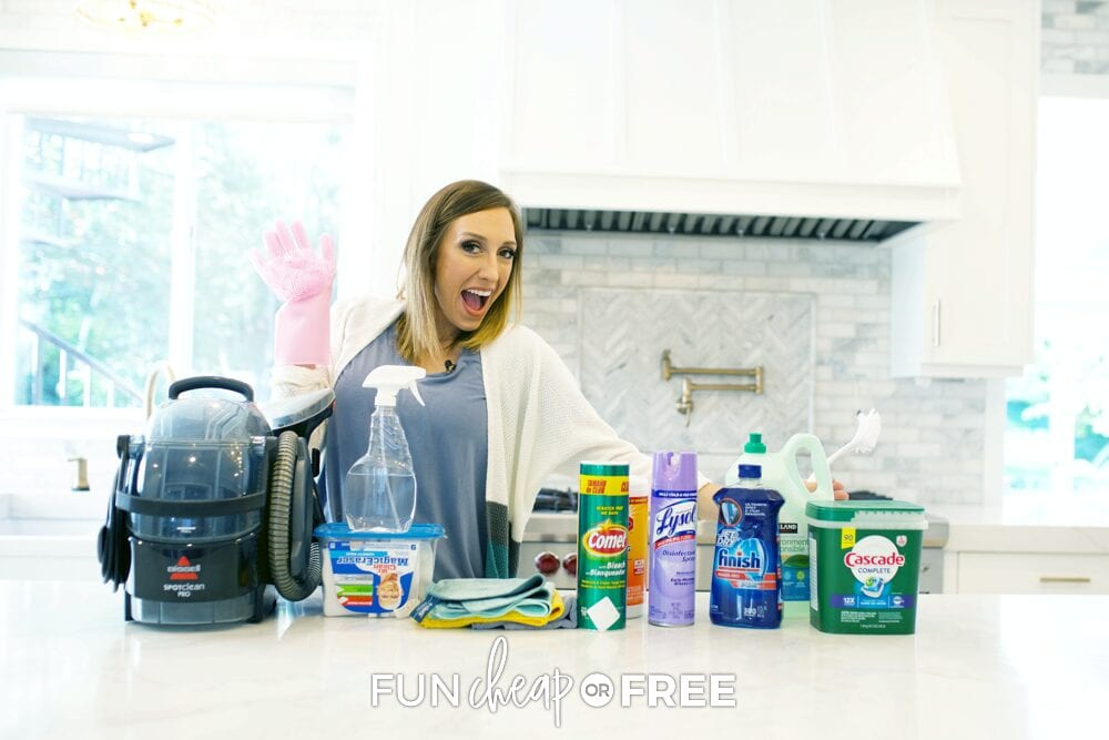 Jordan with her favorite cleaning products, from Fun Cheap or Free