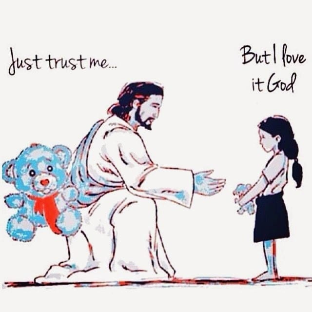Drawing of Jesus holding his hand out to a young girl, from Fun Cheap or Free