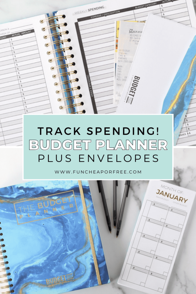 Jordan Page's monthly budget planner on a counter, from Fun Cheap or Free