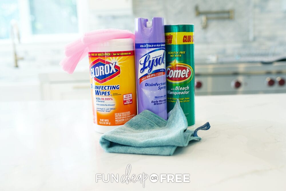 Bathroom cleaning supplies, from Fun Cheap or Free