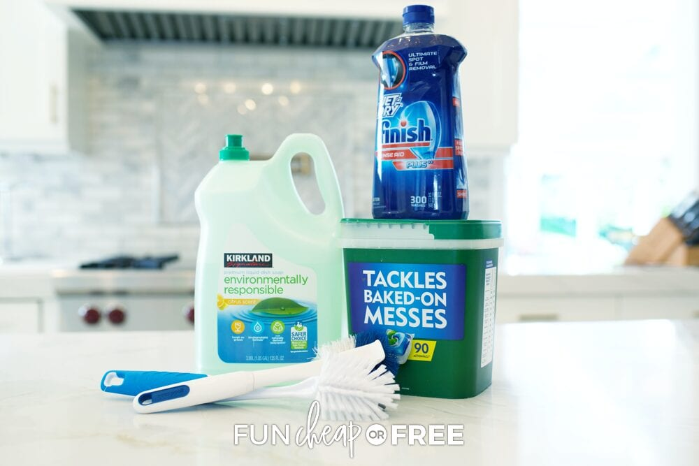 Dish washing detergent and brushes on a counter, from Fun Cheap or Free