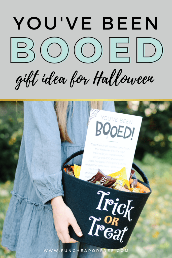 Girl carrying Halloween treat outside, from Fun Cheap or Free