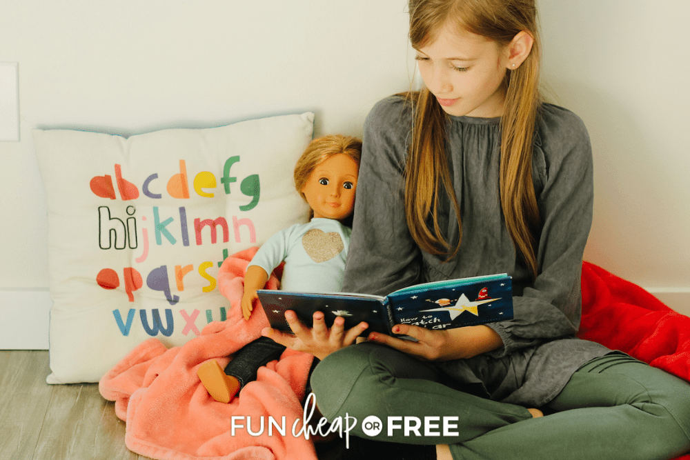 girl reading to american girl doll, from Fun Cheap or Free