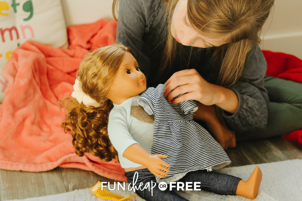 girl, doll, and homemade doll clothes, from Fun Cheap or Free