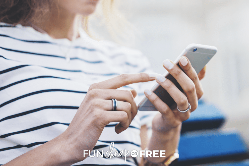 woman using cellphone, from Fun Cheap or Free