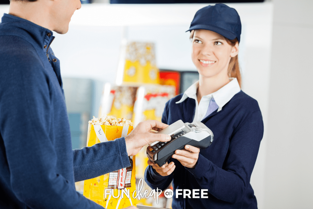 teenage girl working at movie theater concessions, from Fun Cheap or Free