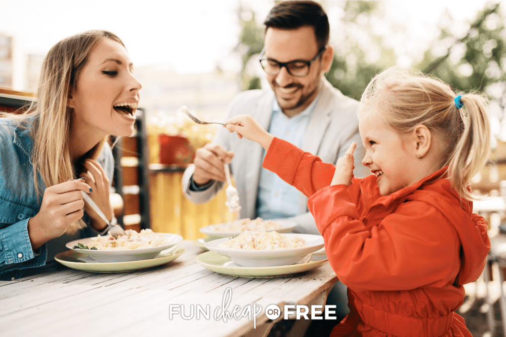 family eating out a restaurant, from Fun Cheap or Free