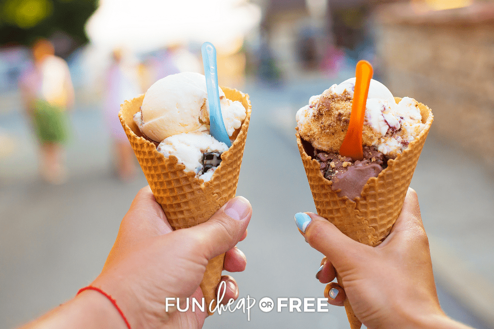 two hands holding ice cream cones, from Fun Cheap or Free