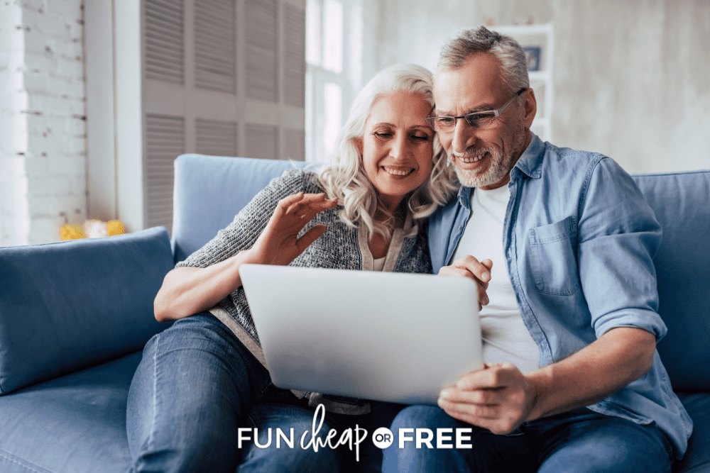 senior citizens sitting on couch using laptop, from Fun Cheap or Free
