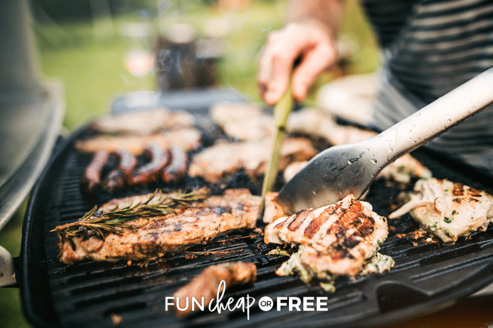man grilling out meat, from Fun Cheap or Free